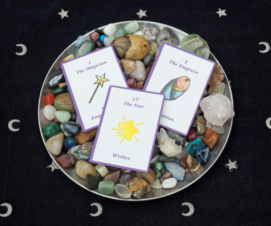 Neshla Avey the learner tarot cards in bowl with crystals
