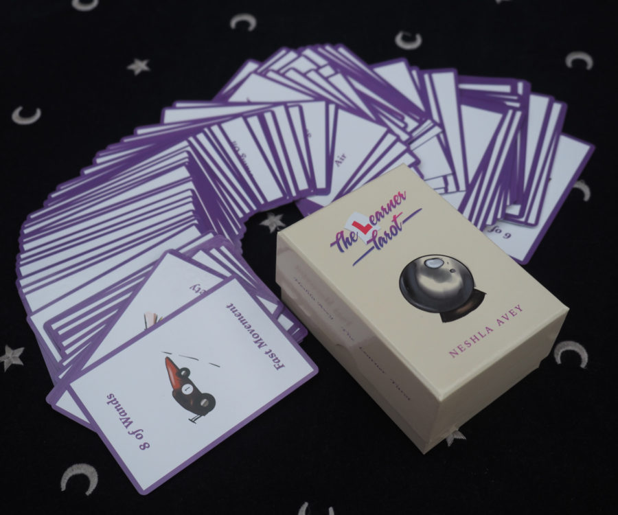 Neshla Avey the learner tarot cards spread out with box