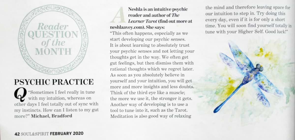 Soul & Spirit Magazine February 2020 Psychic Practice reader question of the month answered by Neshla Avey