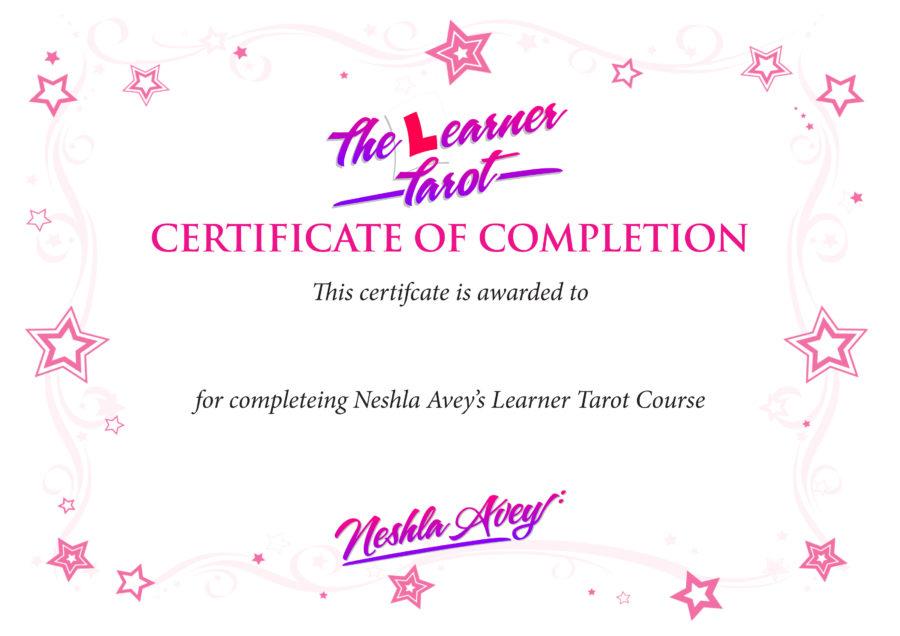 Neshla online Learn Tarot Course certificate