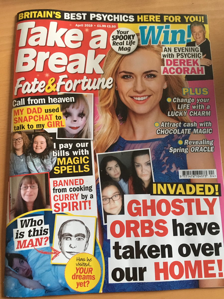 Psychic Neshla Avey in Take A Break Fate & Fortune Magazine